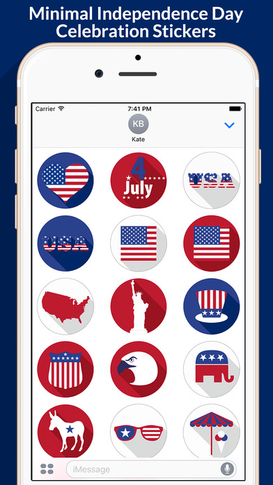 4th of July - Minimal Independence Day Stickers screenshot 1