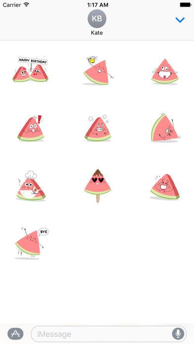 Relaxing Watermelon Emoji Sticker screenshot 3