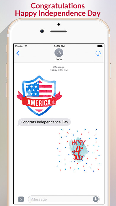 4th of July - Watercolor Independence Day Stickers screenshot 2