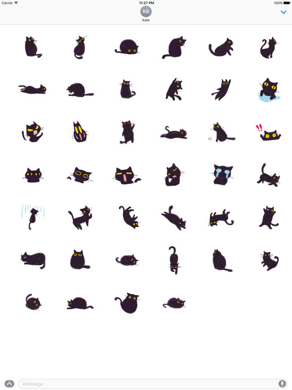 Soft Black Cat Catmoji Sticker screenshot 4