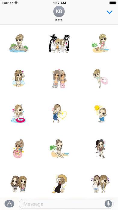 Beautiful Girls in Summer Sticker screenshot 2