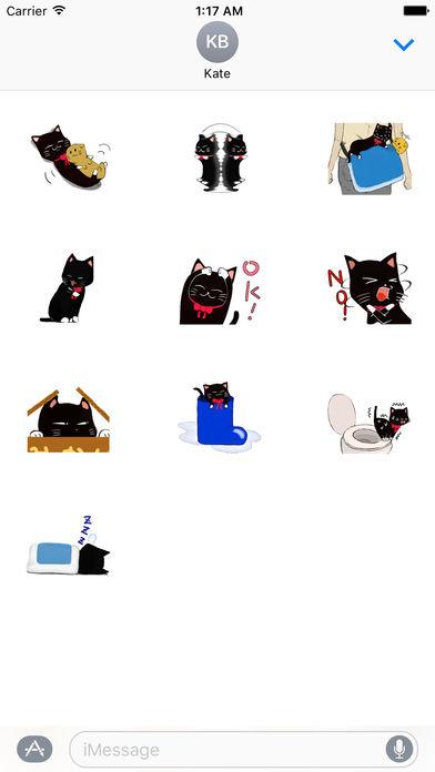 Naughty Black Cat Emoji Sticker screenshot 3