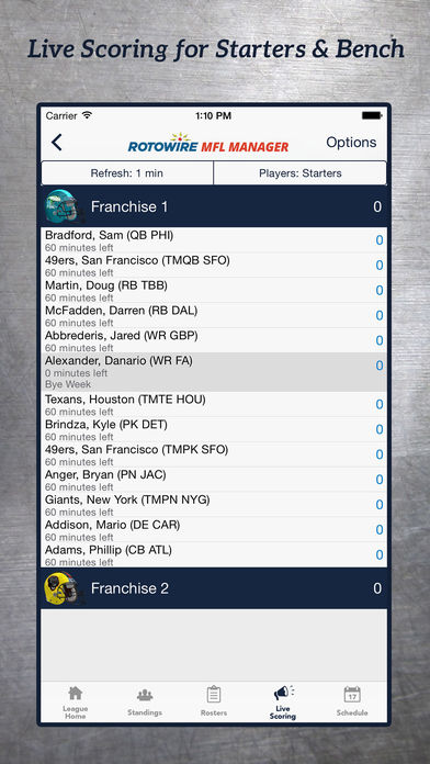 MyFantasyLeague Manager 2017 by RotoWire screenshot 2