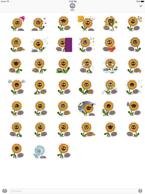Cute Sunflower - Flowermoji Sticker screenshot 4