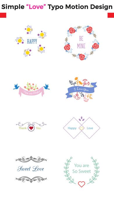 Love Typo - Animated Minimal Typography Stickers screenshot 1