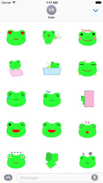 Cute Green Frog Emoji Sticker screenshot 2
