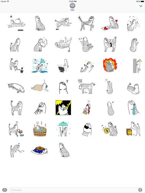 Weird Stickers - Fish Cat screenshot 4