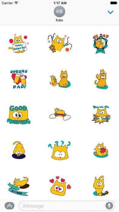 Father's Day 2017 Of Cute Cat Sticker screenshot 1
