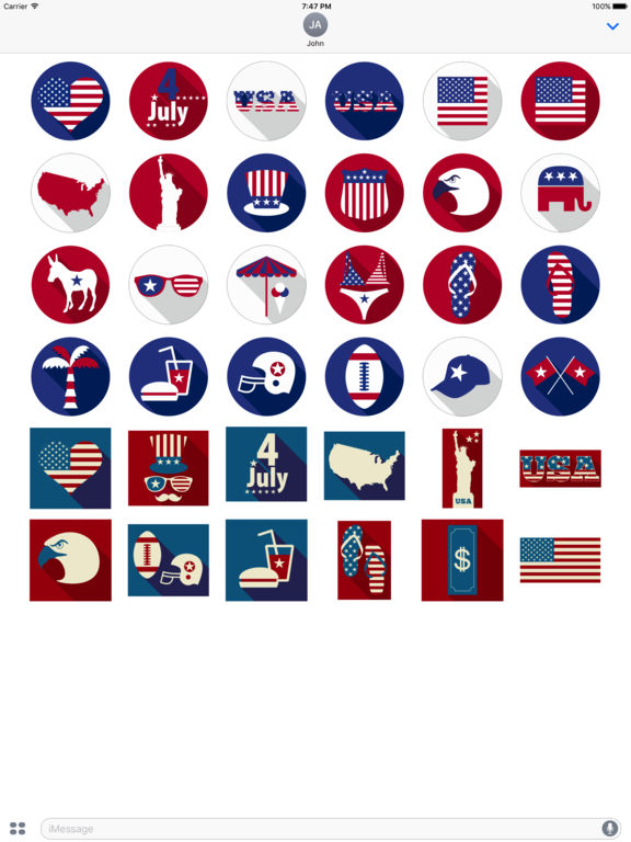4th of July - Minimal Independence Day Stickers screenshot 5