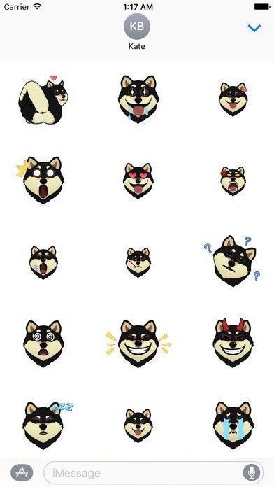Black Shiba Inu Dog Emoji Animated Stickers screenshot 1