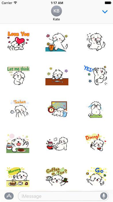 Cute Coton Dog Sticker screenshot 1