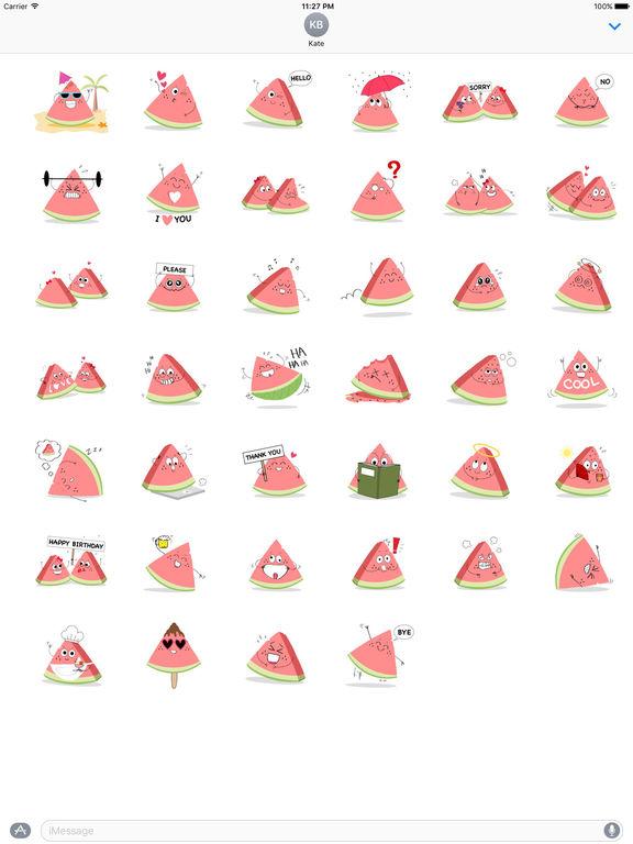 Relaxing Watermelon Emoji Sticker screenshot 4
