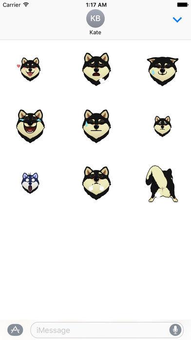 Black Shiba Inu Dog Emoji Animated Stickers screenshot 2