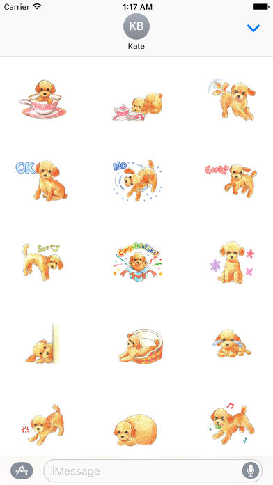 Watercolor Lovely Toy Poodle Sticker screenshot 1