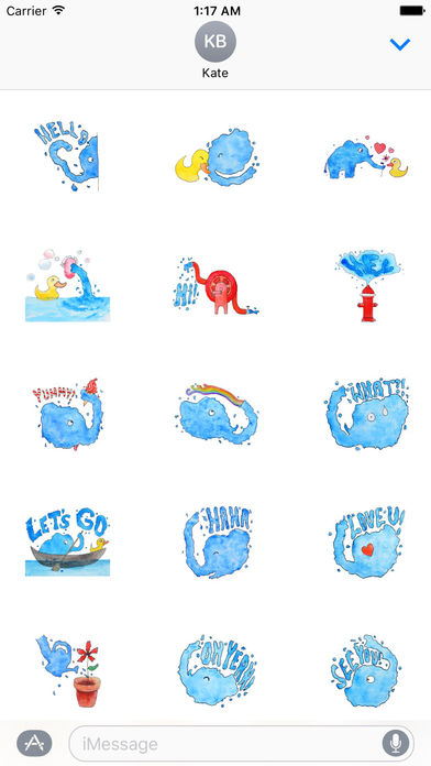 Cool Watercolor Water Elephant Sticker screenshot 1