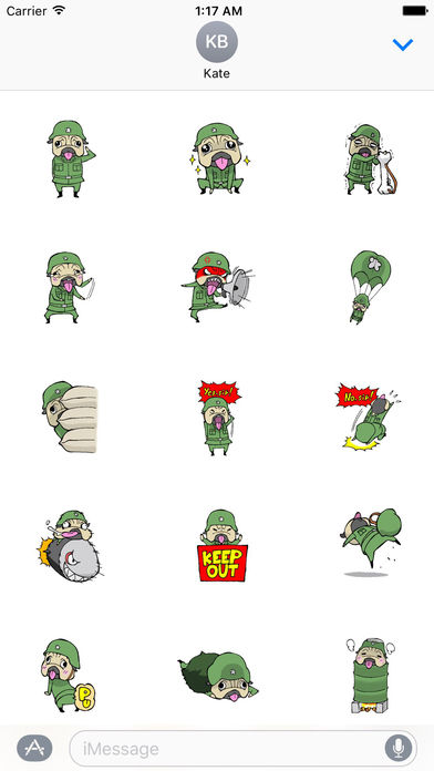 Brave Soldier Pug Dog Stickers screenshot 1