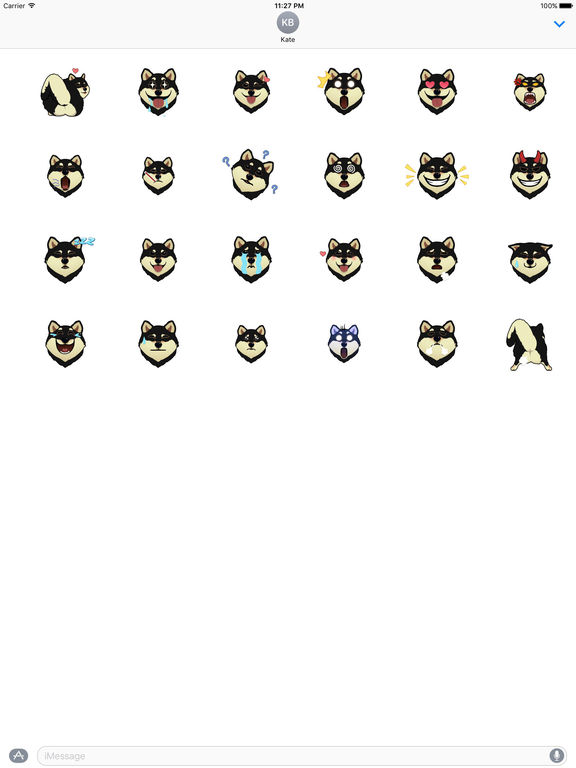Black Shiba Inu Dog Emoji Animated Stickers screenshot 3
