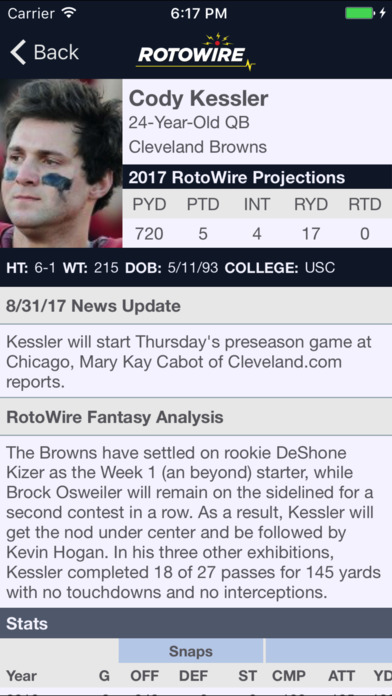RotoWire Fantasy Football Assistant 2017 screenshot 5