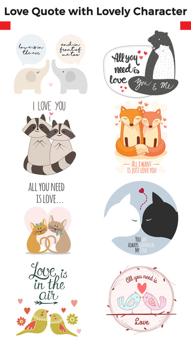 Love Quotes with Lovely & Romantic Animal Couple screenshot 1
