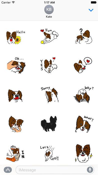 Papillon Dog Emoji Sticker screenshot 1