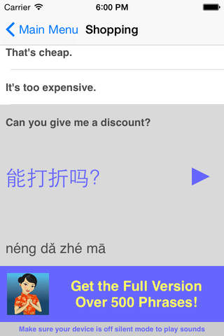 Speak Chinese Travel Phrasebook Lite - náhled