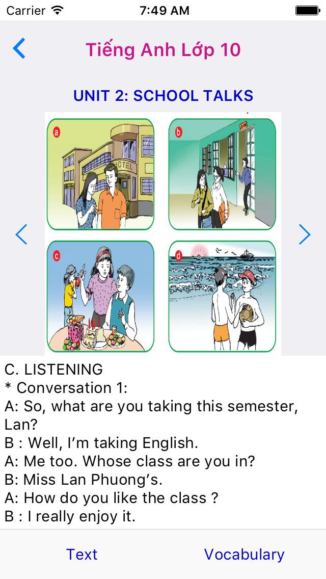 Tieng Anh Lop 10 - English 10 screenshot 2
