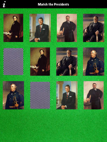 MATCH the PRESIDENTS - Concentration Memory Game with Portraits of each USA President screenshot 5