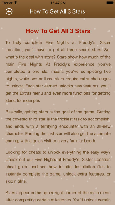 Cheats+Guide For Fnaf Sister Locations | Apps | 148Apps