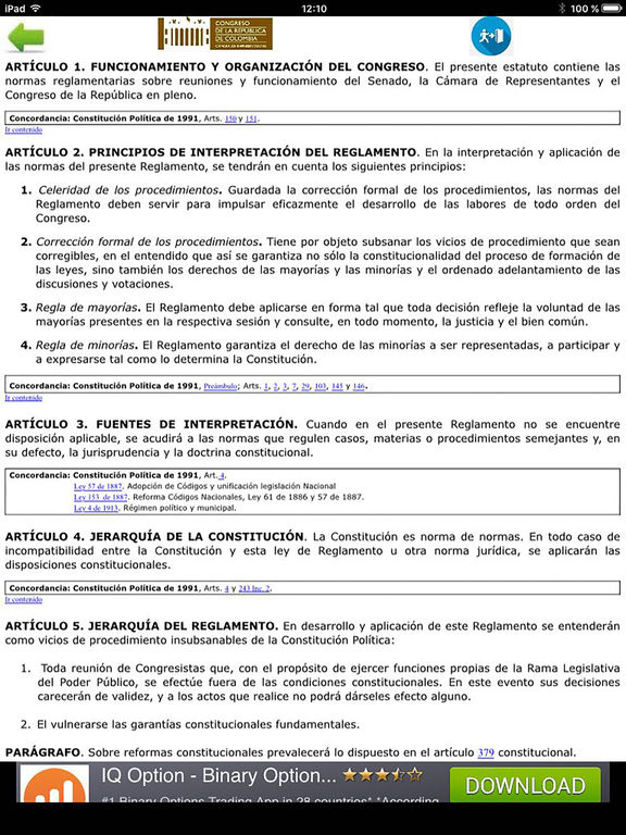 Reglamento  Congreso Colombia screenshot 4