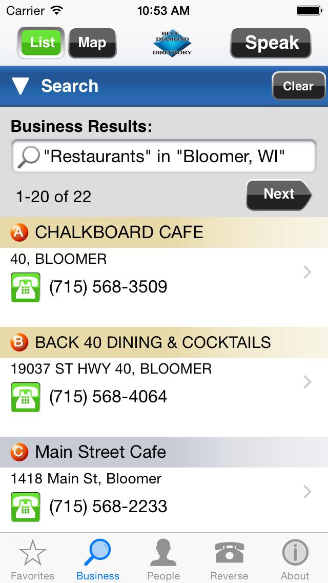 Blue Diamond Directory screenshot 1
