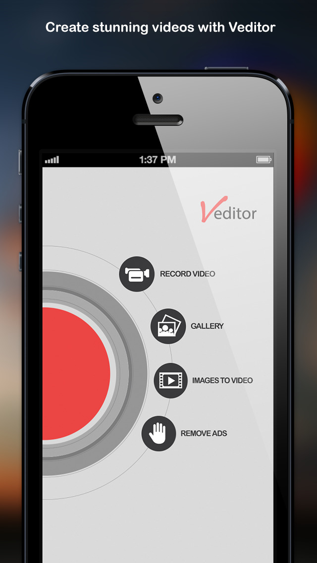 Veditor: Video editor and movie maker studio for YouTube and Instagram and Vine screenshot 1