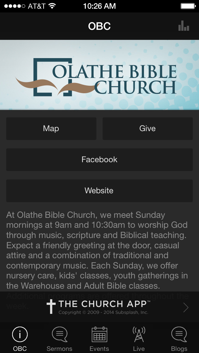 Olathe Bible Church screenshot 1