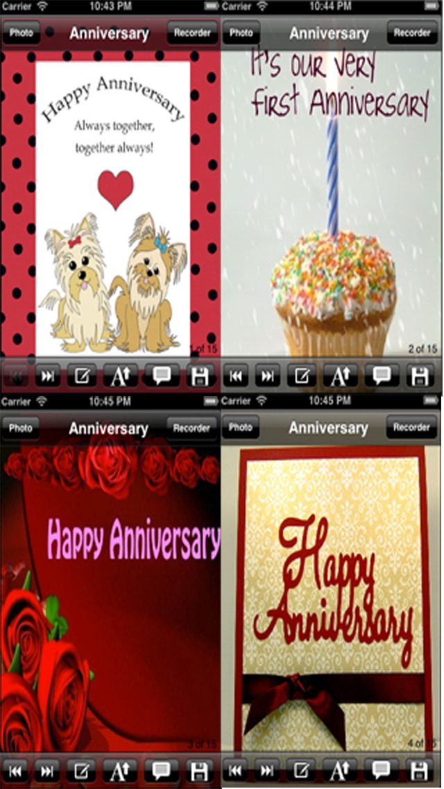The Ultimate Anniversary eCards with Photo Editor.Customize and send anniversary eCards with text and voice greeting messages screenshot 2