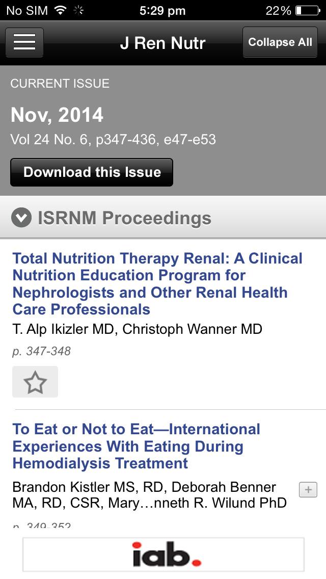 Journal of Renal Nutrition screenshot 5