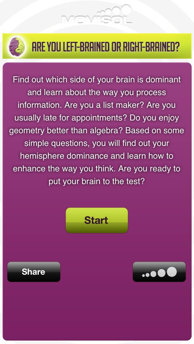 Cerebral hemispheres: how do you use your brain? screenshot #2