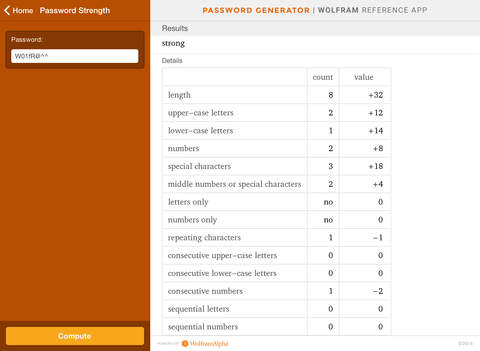 Wolfram Password Generator Reference App screenshot 8