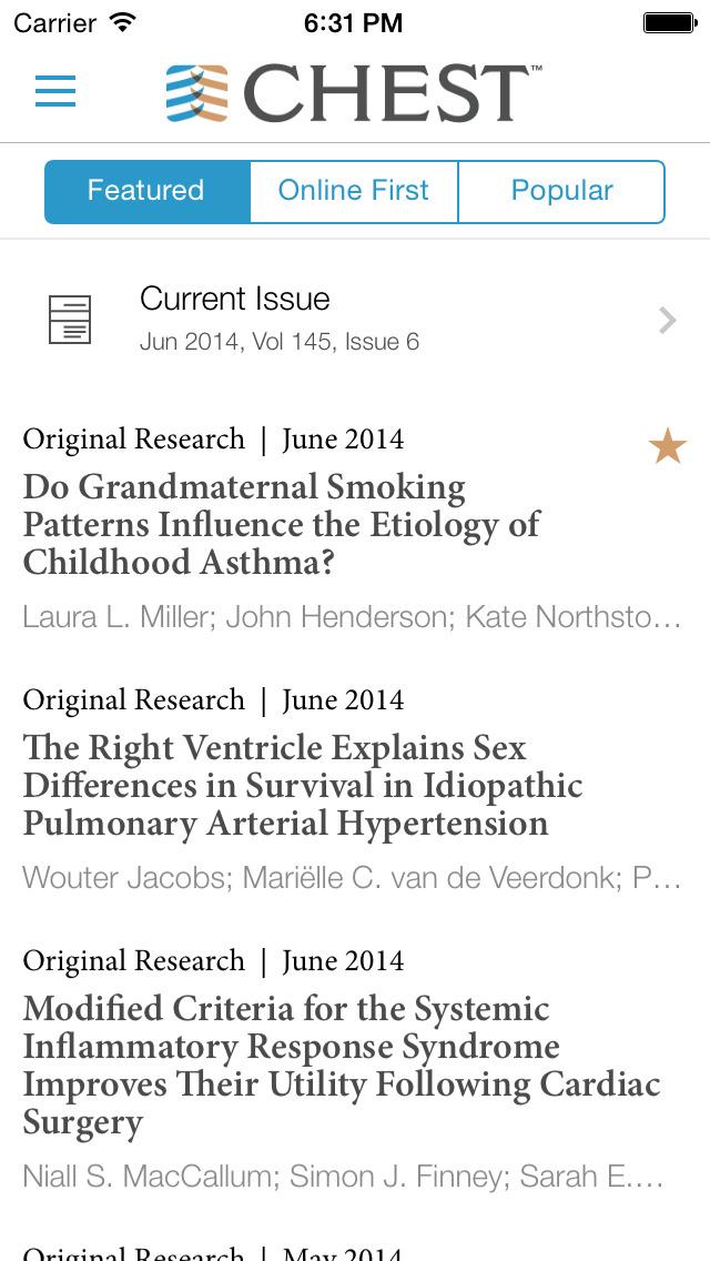 CHEST Journal App screenshot 1