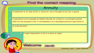 Spelling Doll English Words From Greek Vocabulary Quiz Grammar screenshot 2