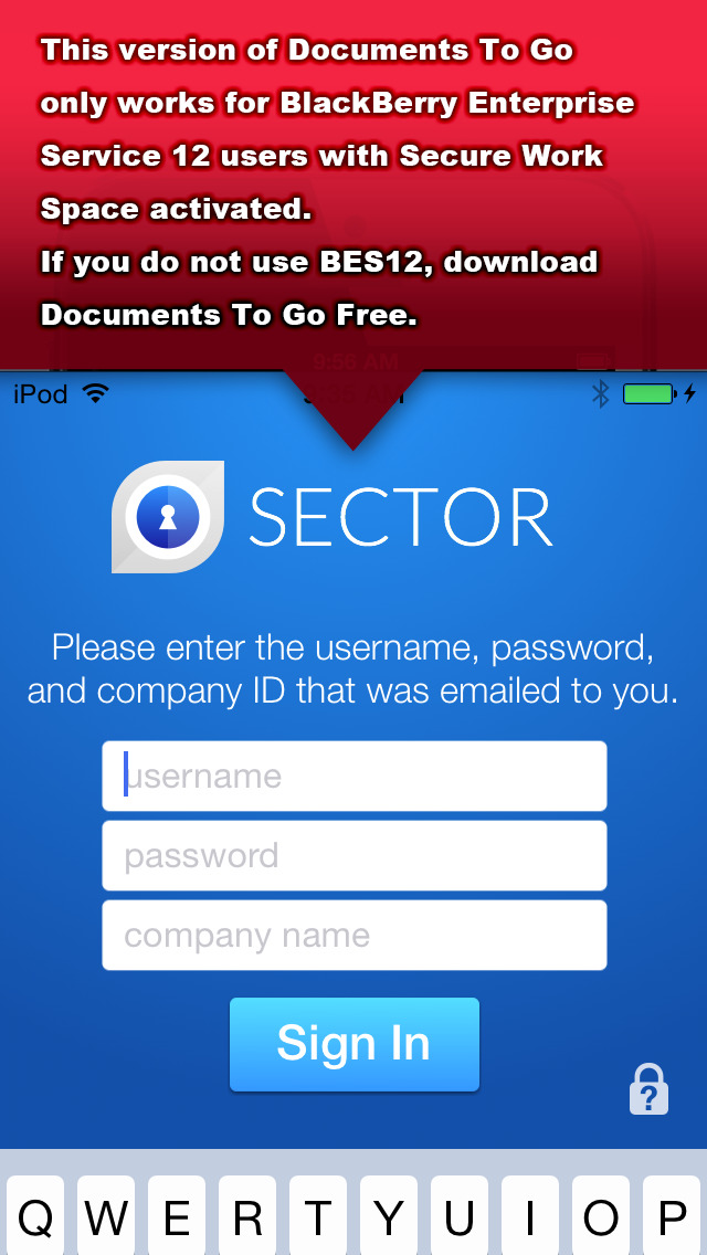 Documents To Go® - for BES12 screenshot #1