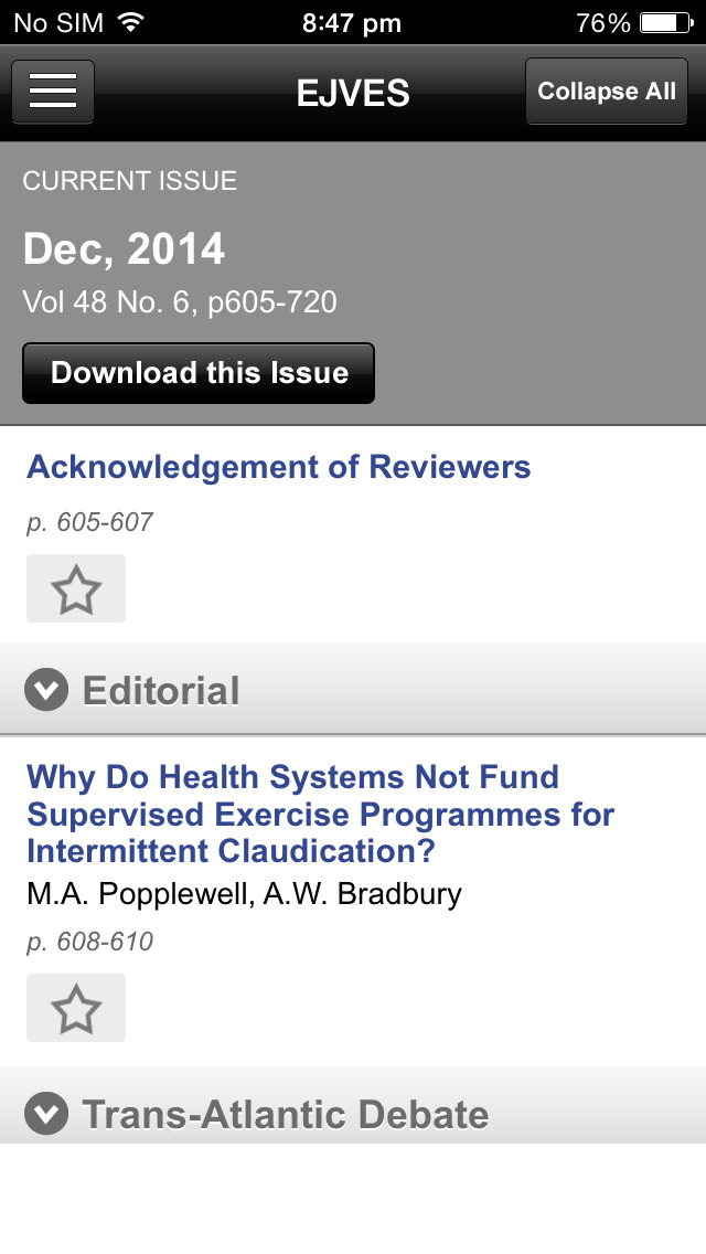 European Jrnl of Vascular and Endovascular Surgery screenshot 5