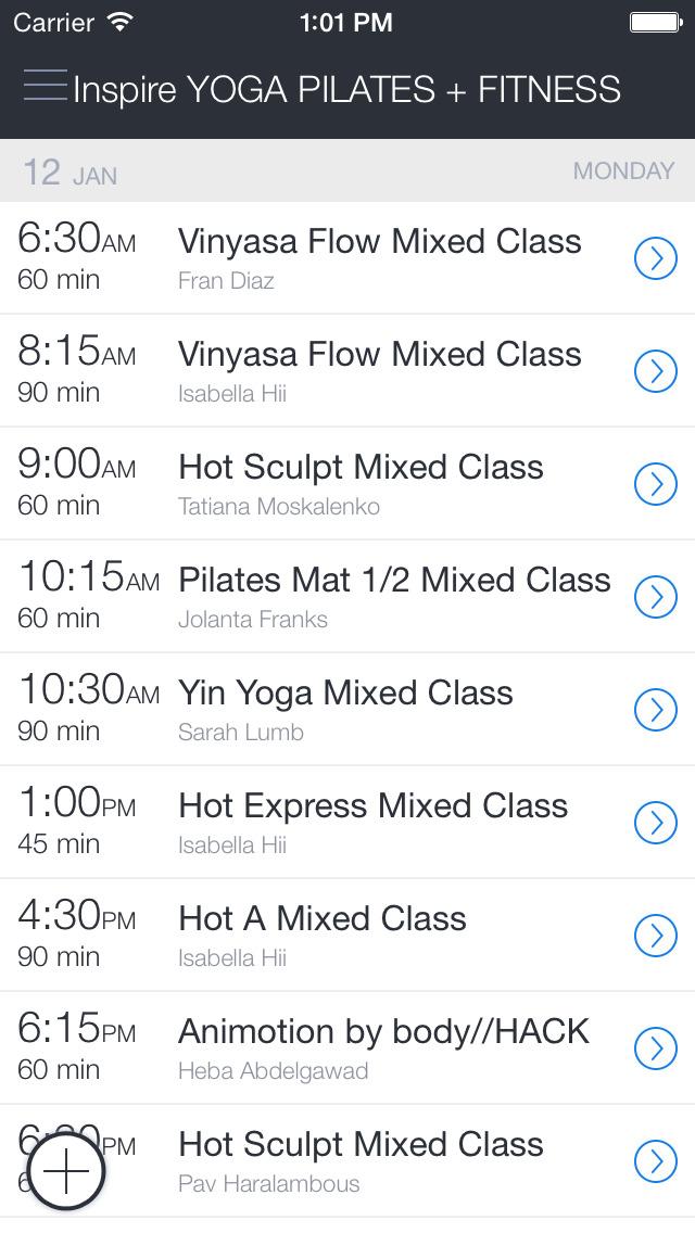 Inspire Yoga+Pilates+Fitness screenshot 1