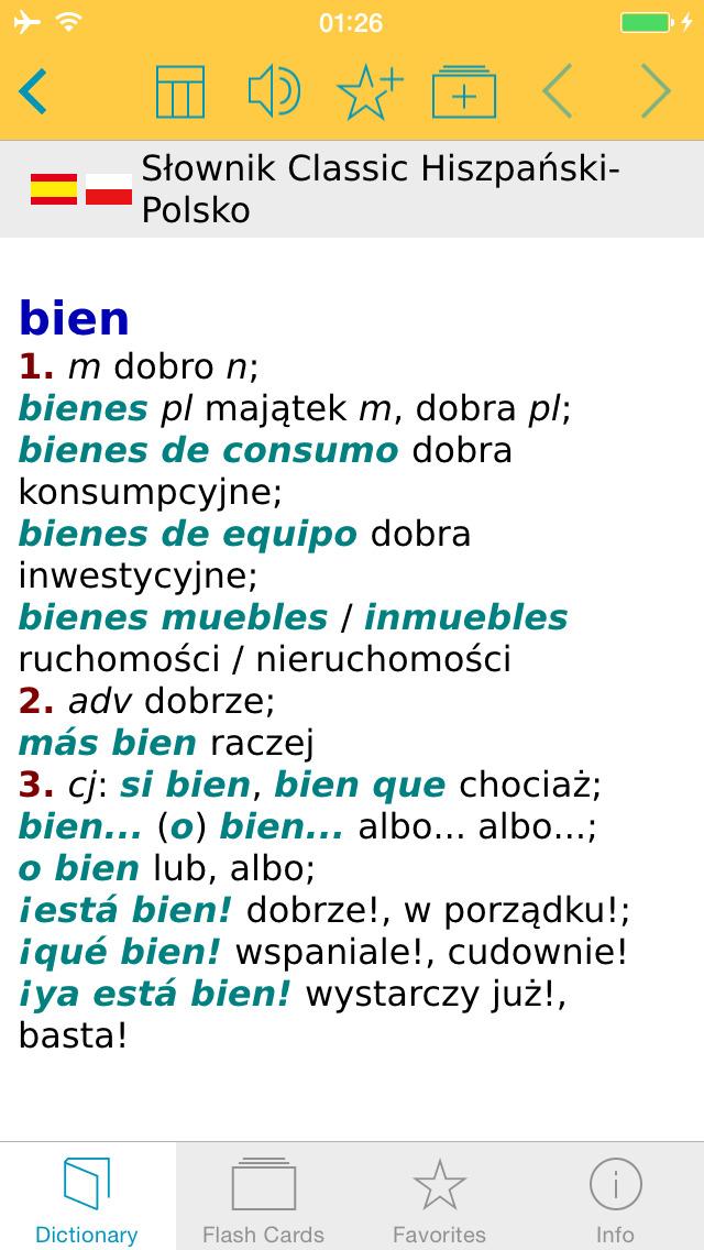 Słownik CLASSIC polsko <-> hiszpańsko screenshot 1