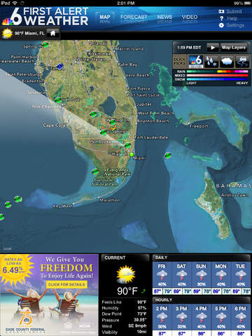 NBC 6 South Florida Weather for iPad screenshot 1