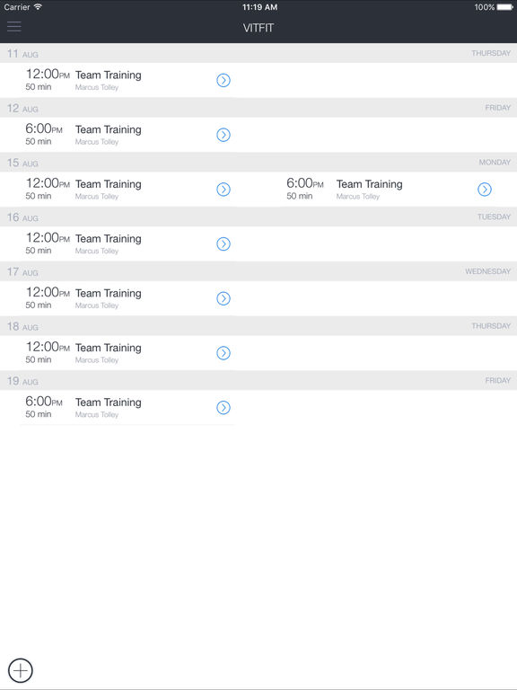 VITFIT Bookings screenshot 3