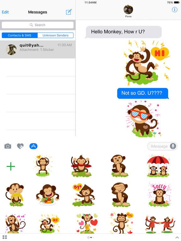 Monkey Emoji - Monkey Stickers for iMessage screenshot 5