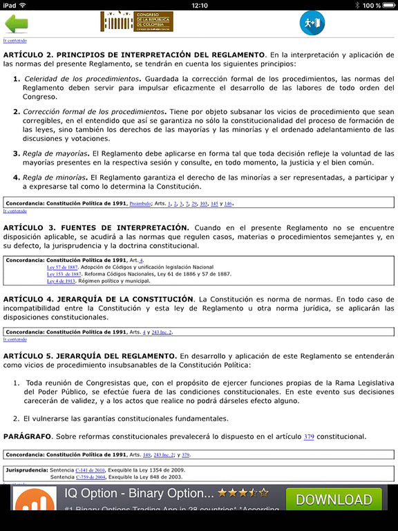 Reglamento  Congreso Colombia screenshot 5