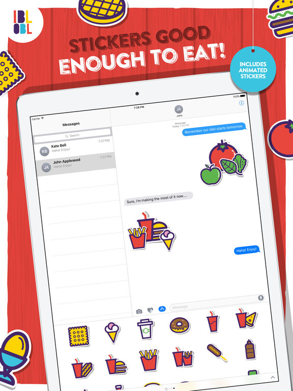 Ibbleobble Food Stickers for iMessage screenshot 5